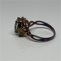 STERLING SILVER LG STONE RING