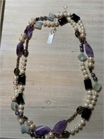 STERLING SILVER STONE & PEARL NECKLACE