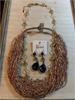 LARGE LOT OF NECKLACES & EARRINGS