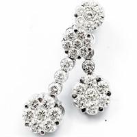 1.5+ CT Diamond & 18k WG Flower Drop Earrings