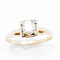 1/3 CT Diamond & Two Tone Gold Solitaire Ring