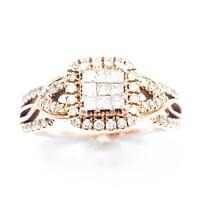 3/4+ CT Diamond & 10k Rose Gold Halo Ring