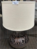 366 - STUNNING CARVED ELEPHANT TABLE LAMP
