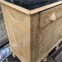 366 - BEAUTIUFL CARVED MARBLE TOP SIDEBOARD