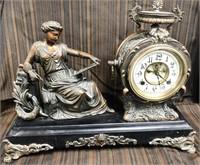 366 - STUNNING COPPER WOMAN  ANTIQUE MANTLE CLOCK
