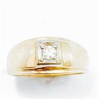 Diamond & 14k Men's Solitaire Band Ring