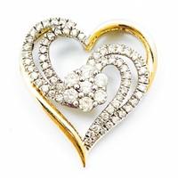 Diamond & 14k Gold Open Heart Pendant