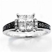 1+ CT Black & White Diamond 14k WG Ring
