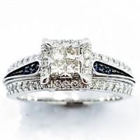 Diamond & Sapphire 14k WG Halo Ring