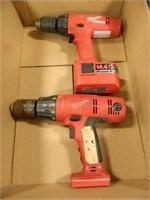 Milwaukee Drills; (2); Used Condition