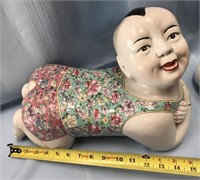 D - SIGNED PORCELAIN CHINESE HEADRESTS 15 X 11