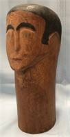 D - VINTAGE EX VOTO HAND CARVED HAND PAINTED HEAD