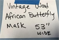 """VINTAGE WOOD AFRICAN BUTTERFLY MASK 53"""" WIDE"""