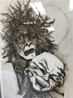 VINTAGE ETCHING SIGNED ALBERT DALE MINEAR 17/50