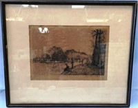 D - ANTIQUE ETCHING SINGED 68/200 FRAMED 15 X 18
