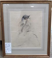 D - ANTIQUE ORIGINAL CHARCOAL DRAWING BY LOUIS ICA