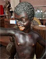 "D - ANTIQUE CHALKWARE BLACK AMERICAN STATUE 50"" TA"