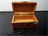 Carved Wooden Box and Leather Jewelry Box
