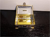 Gold Trimmed Bank and Wooden Chest