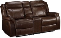 Rushmere Reclining Loveseat with Console, Brown