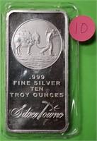 TEN TROY OUNCES OF .999 FINE SILVER (10)