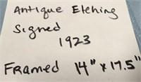 """ANTIQUE ETCHING SIGNED 1923 FRAMED 14"""" X 17.5"""""""