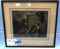 "ANTIQUE ETCHING SIGNED 48/100 FRAMED 19"" X 17"""