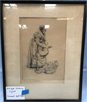 "ANTIQUE ETCHING SIGNED FRAMED 16.5"" X 20.5"""