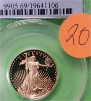 GRADED GOLD 1996-W $10 DOLLAR COIN 1/4oz  (20)