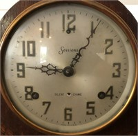 62 - SESSIONS SILENT CHIME TABLE CLOCK WITH KEY
