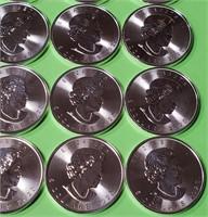 25 CANADIAN MAPLE LEAF 1oz FINE SILVER COINS  (13)