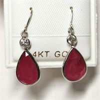 $3700 14K  Burmese Ruby(5ct) Diamond(0.2ct) Earrin