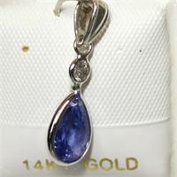 $1570 14K  Tanzanite(1.6ct) Diamond(0.1ct) Pendant