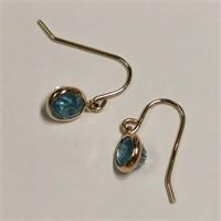$600 10K  Blue Zircon(2.2ct) Earrings