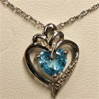 $100 Silver Blue Topaz Necklace