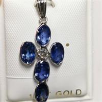 $3000 14K  Ceylon Sap(2.5ct) Diamond(0.12ct) Penda
