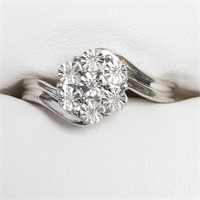 $180 Silver 7 Diamond Ring