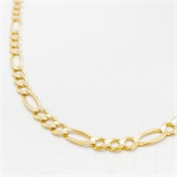 """22"""" 10k Gold Figaro Link Chain Necklace"""