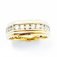 3/4+ CT diamond & 10k Gold Mens Band Ring