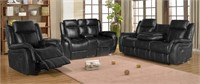C - NEW IN BOX BLACK RECLINER SET WITH SOFA