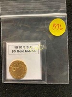 1910 USA $5 Gold Indian