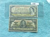 canada 2 billets 20 dollar        1937-1954
