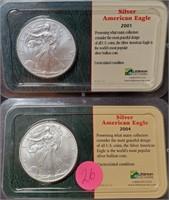 2001 & 2004 SILVER AMERICAN EAGLE DOLLARS (26)