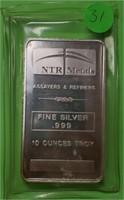 NTR METALS - TEN TROY OUNCES .999 FINE SILVER (31)