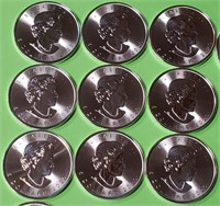 25 CANADIAN MAPLE LEAF 1oz FINE SILVER COINS (30)