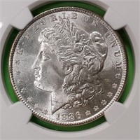 "1886 ""MS64"" - MORGAN SILVER DOLLAR (102)"