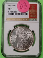 "1885 ""O"" ""MS64"" - MORGAN SILVER DOLLAR (103)"