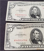 (144) 2 RED SEAL US $5.00 NOTES 1963