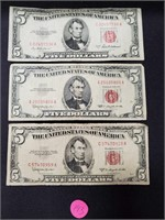 (143)3 RED SEAL $5 RED NOTES