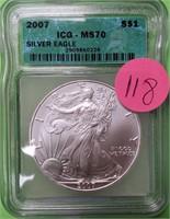 """2007 """"MS70"""" - SILVER EAGLE DOLLAR (118)"""